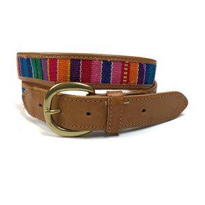 Woven Multi Color Stripe & Leather Guatemala Belt